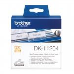 Banda etichete hartie Brother DK-11204, 17 mm x 54 mm, negru / alb, 400 et.