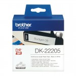 Banda continua hartie Brother DK-22205, 62 mm x 30.48 M, negru / alb