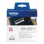 Banda continua plastic Brother DK-22211, 29 mm x 15.24 M, negru / alb