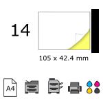 Top etichete adezive in coala A4, 105 x 42.4 mm, 14 buc./foaie