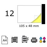 Top etichete adezive in coala A4, 105 x 48 mm, 12 buc./foaie