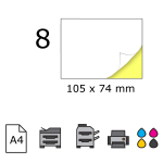 Top etichete adezive in coala A4, 105 x 74 mm, 8 buc./foaie