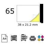 Top etichete adezive in coala A4, 38 x 21.2 mm, 65 buc./foaie
