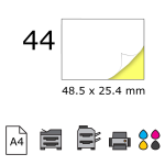 Top etichete adezive in coala A4, 48.5 x 25.4 mm, 44 buc./foaie