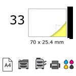 Top etichete adezive in coala A4, 70 x 25.4 mm, 33 buc./foaie