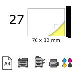 Top etichete adezive in coala A4, 70 x 32 mm, 27 buc./foaie