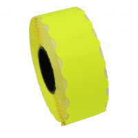 Rola etichete de pret ondulate, 26 x 12 mm, galben neon, 1500 et./rola