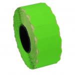 Rola etichete de pret ondulate, 26 x 12 mm, verde neon, 1500 et./rola